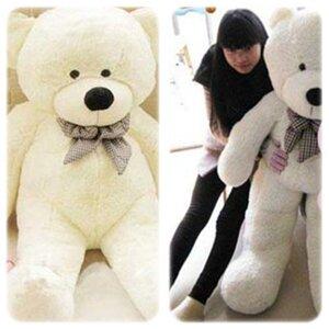 ตุ๊กตาหมีผูกโบว์สีขาว ขนาด 1.4 m.