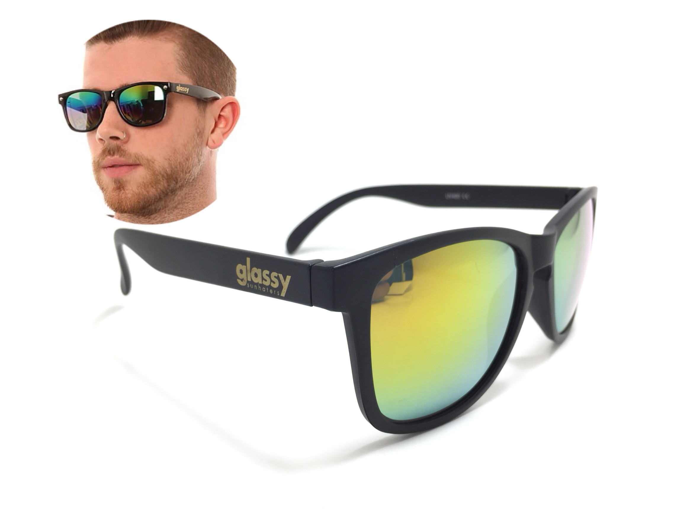 แว่นกันแดด Glassy Sunhaters Deric Black/Red Mirror 54-18 140 <ปรอทส้ม>