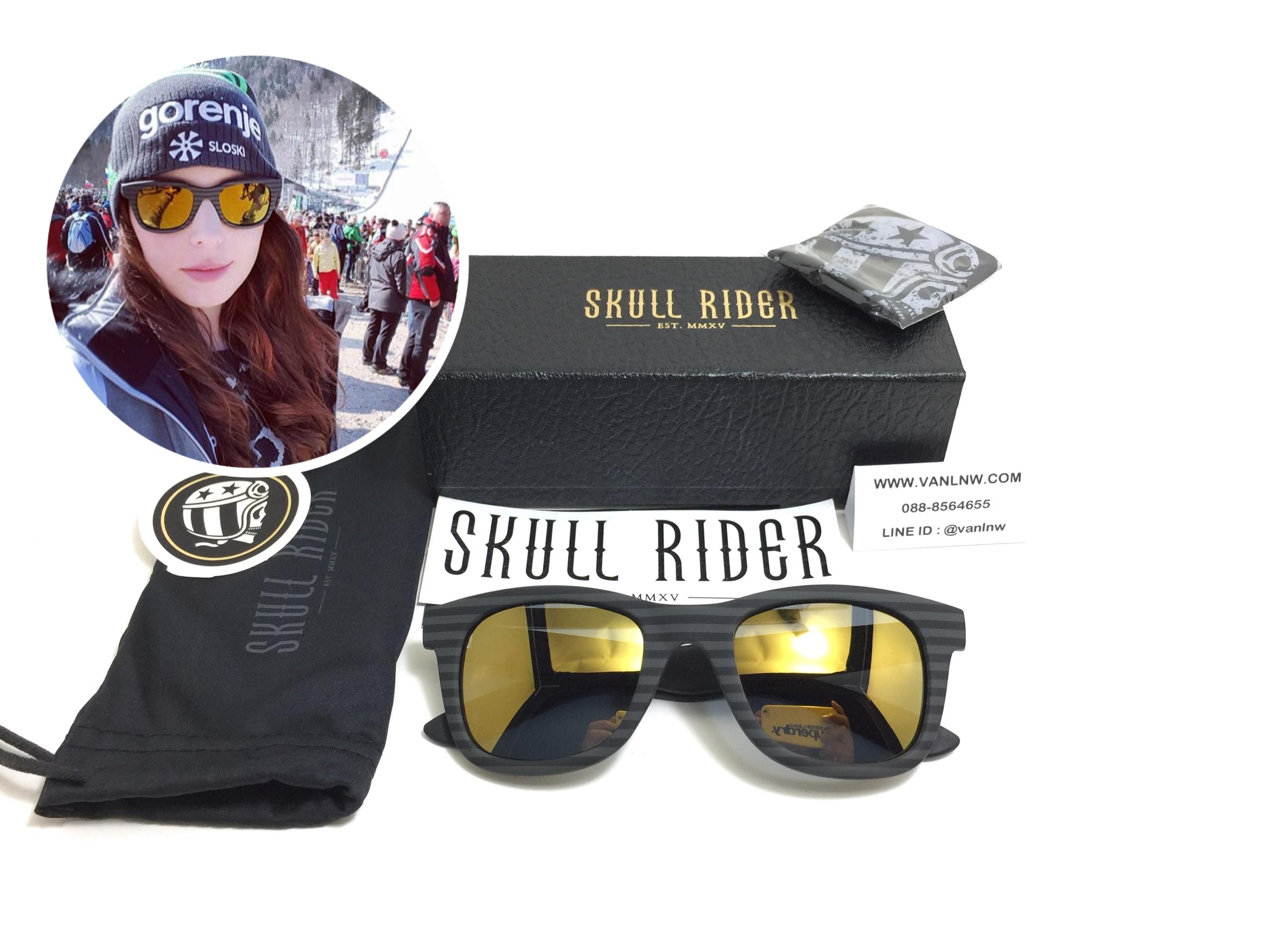 แว่นกันแดด SKULL RIDER รุ่น Rubber Stripe Gold <Skull-39>