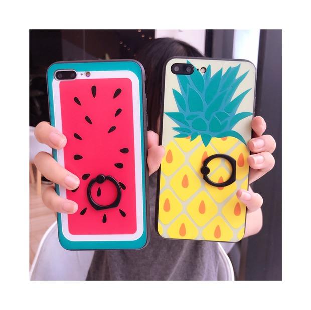 (665-011)เคสมือถือไอโฟน Case iPhone 7 Plus/8 Plus เคสนิ่มลายแตงโม สับปะรด
