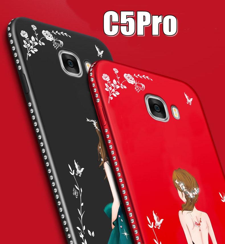 (587-005)เคสมือถือซัมซุง Case Samsung C5 Pro เคสนิ่มแฟชั่นลายผู้หญิงขอบเพชร