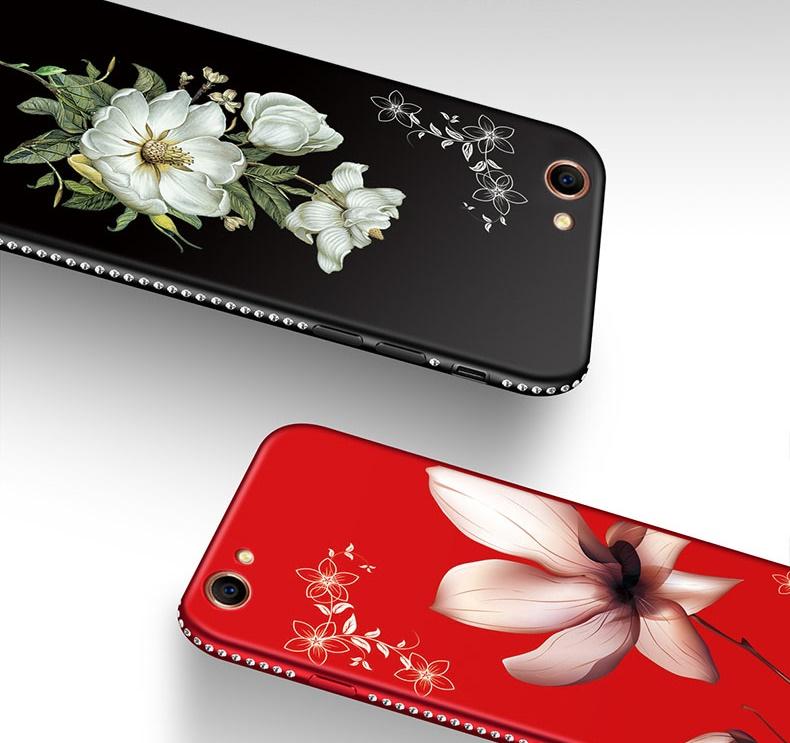 (026-007)เคสโทรศัพท์มือถือวีโว Vivo V5/V5S/Y67 เคสนิ่มขอบเพชรลายดอกไม้