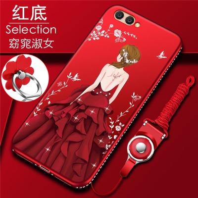 (025-947)เคสมือถือ Case Huawei Honor View 10 เคสนิ่มซิลิโคนลายการ์ตูนผู้หญิงขอบเพชรหรูหรา พร้อมแหวนมือถือดอกไม้และสายคล้องคอถอดแยกได้