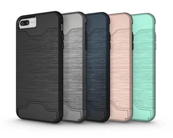 (436-168)เคสมือถือไอโฟน Case iPhone 7 Plus เคสแข็งกึ่งนิ่มสไตล์กันกระแทกมีช่องใส่การ์ดด้านหลังและขาตั้งในตัว