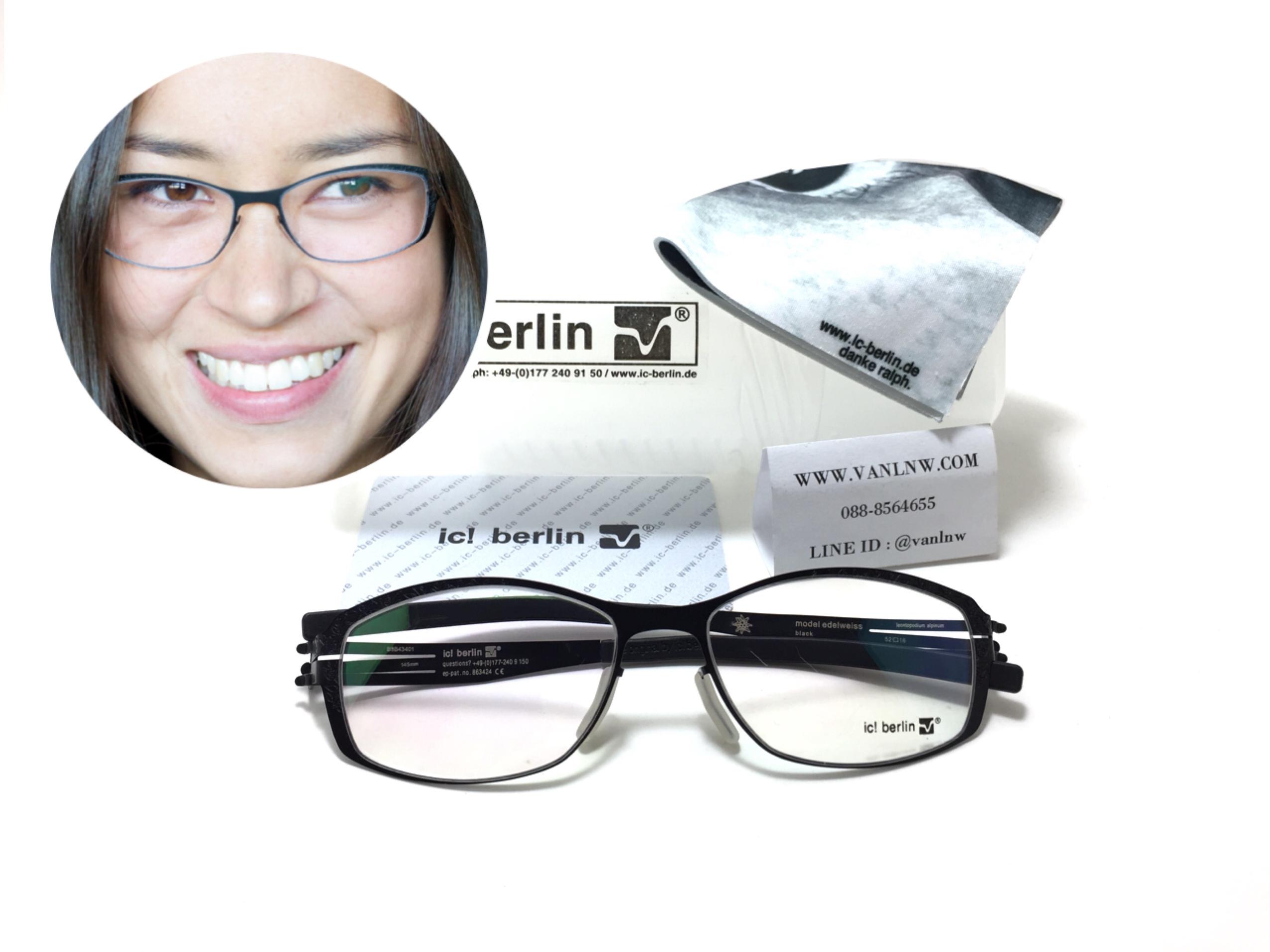 แว่นสายตา ic berlin model edelweiss black 52-16 <ดำ>