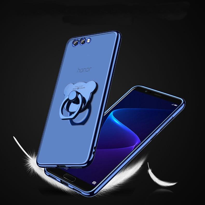 (025-948)เคสมือถือ Case Huawei Honor View 10 เคสนิ่มสีใสขอบแวว แบบมีแหวนหมีมือถือ/ไม่มีแหวนมือถือ