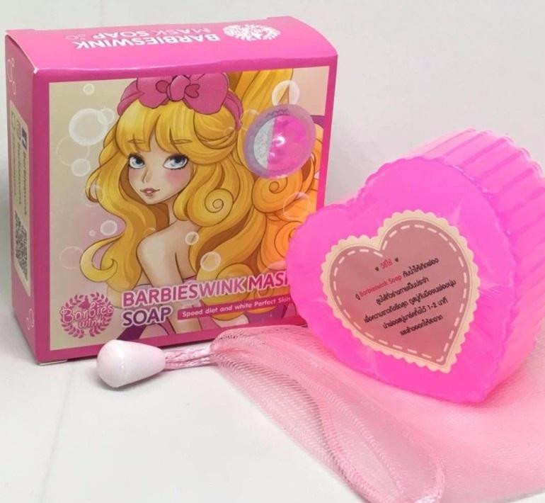 Barbieswink Mask Soap สบู่แพลงตอนสีชมพู 120 กรัม