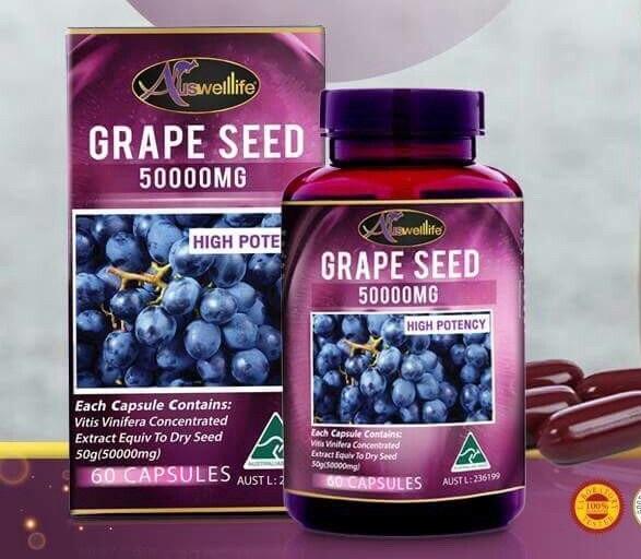 Auswelllife Grape Seed 50000 mg. ออสเวลไลฟ์ เกรป ซีด 50000 มก. บรรจุ 60 แคปซูล