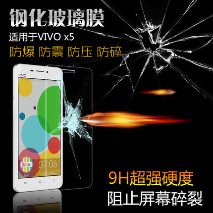 (039-062)ฟิล์มกระจก Vivo X5/X5L รุ่นปรับปรุงนิรภัยเมมเบรนกันรอยขูดขีดกันน้ำกันรอยนิ้วมือ 9H HD 2.5D ขอบโค้ง