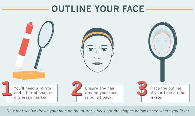 คุณสามารถวัดใบหน้าของตัวเองด้วยสายวัดได้ ขณะที่ยืนอยู่หน้ากระจกให้วัดระยะห่างจากโหนกแก้มซ้ายถึงขวา และจากโหนกแกมถึงกรรไกรของคุณ จะได้ความยาวใบหน้าและความกว้างของส่วนหน้า คุณสามารถวาดรูปทรงของใบหน้าได้