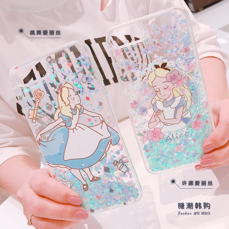 (436-402)เคสมือถือไอโฟน Case iPhone 6Plus/6S Plus เคสขอบนิ่ม Glitter ทรายดูดหัวใจลายอลิซในแดนมหัศจรรย์