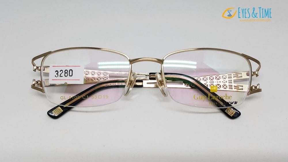 กรอบแว่นตา Guy Laroche ของแท้ รุ่น GUY-4102 กรอบทอง เซาะร่อง ขาใหญ่ ขาลายฉลุ (รุ่นหอไอเฟล)