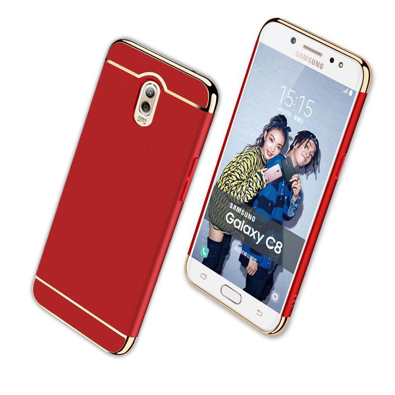 (025-715)เคสมือถือซัมซุง Case Samsung J7+/Plus/C8 เคสพลาสติกขอบทองสไตล์หรูหราแฟชั่น