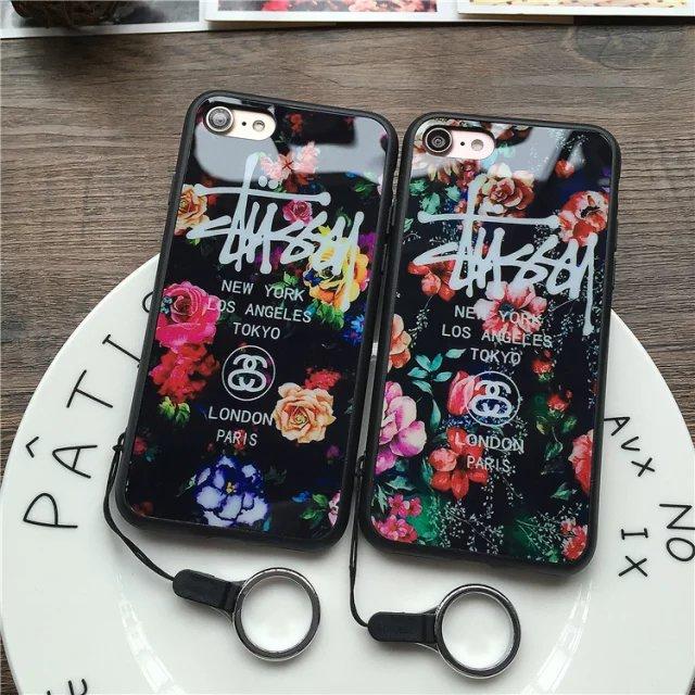 (674-019)เคสมือถือไอโฟน Case iPhone 7 Plus/8 Plus เคสนิ่มลายดอกไม้พื้นหลังแววๆ