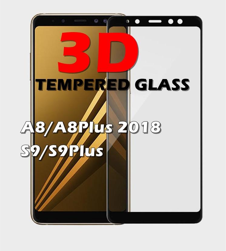 (436-336)ฟิล์ม A8 Plus + 2018 กระจกนิรภัย 9H ขอบสีดำ