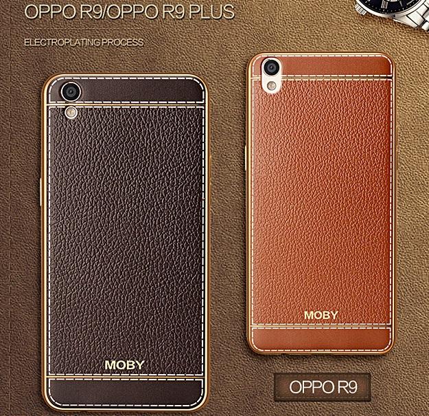 (490-002)เคสมือถือ Case OPPO R9 Plus เคสนิ่มขอบชุบแววพื้นหลังลายหนังวัสดุจากเยอรมัน