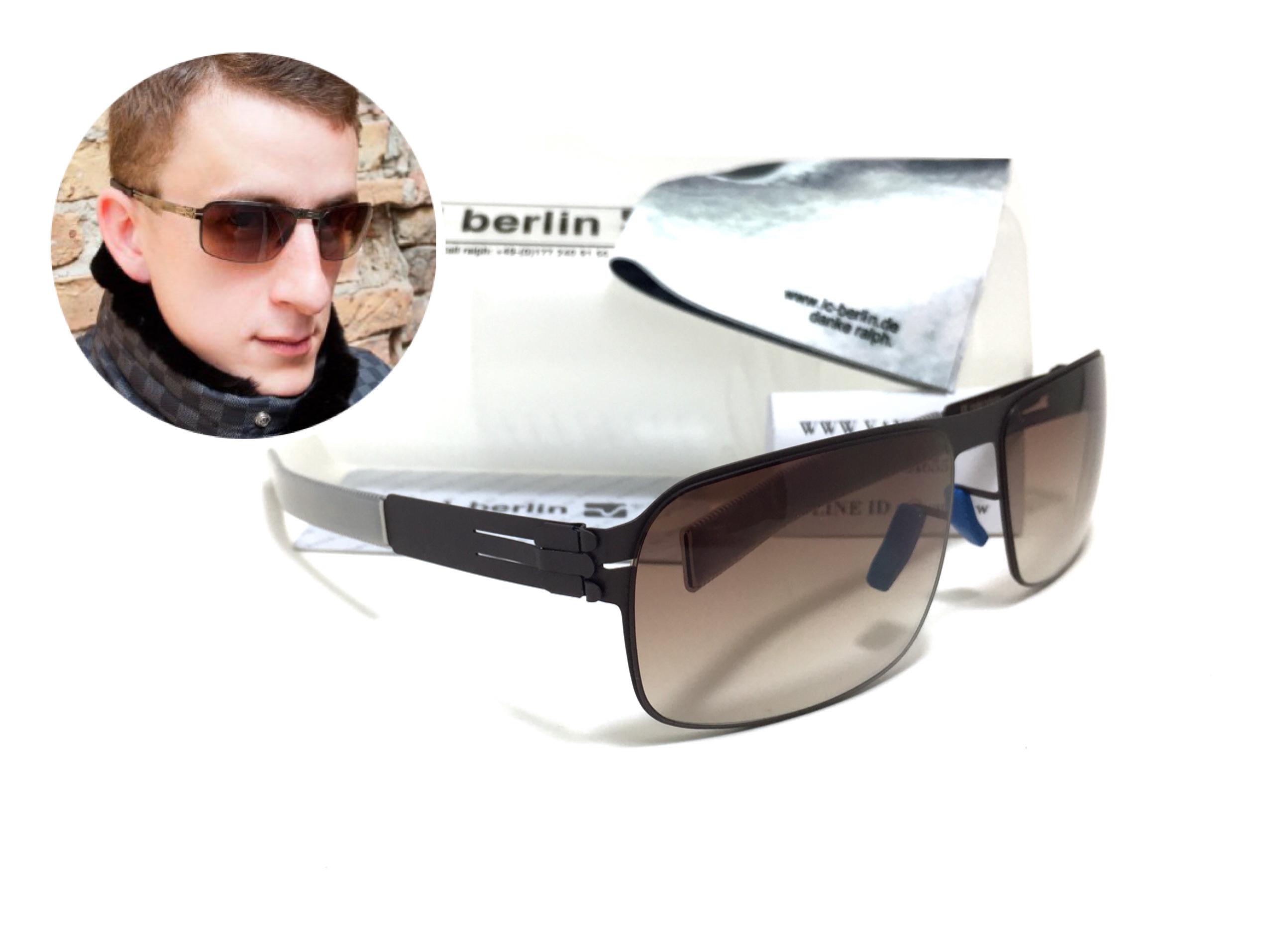 แว่นกันแดด ic berlin model nufenen aubergine 61-16 <น้ำตาล>