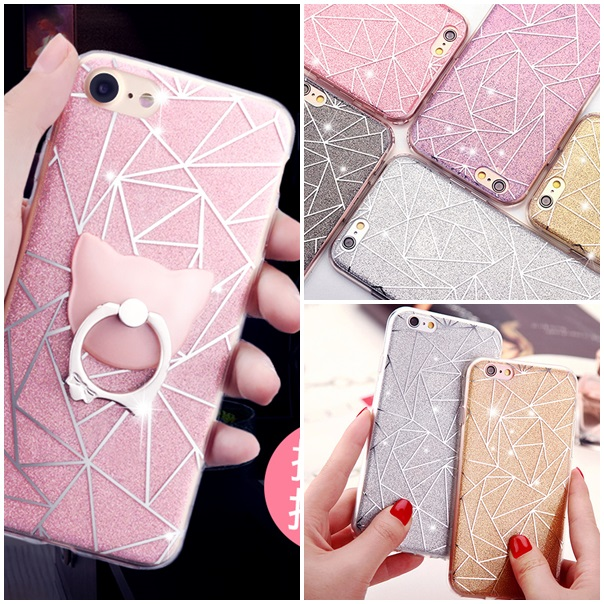 (025-990)เคสมือถือไอโฟน Case iPhone 7 Plus/8 Plus เคสนิ่มพื้นหลังลายวิ้งค์ Glitter แบบมีแหวนมือถือ/ไม่มีแหวนมือถือ