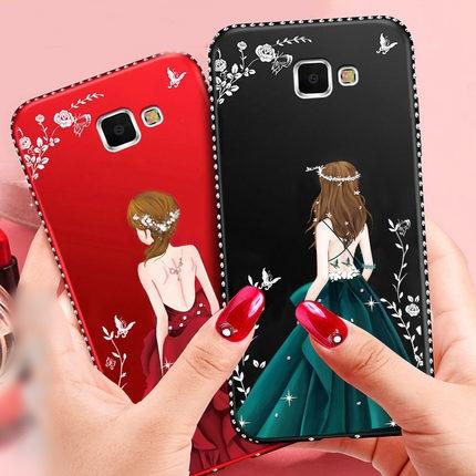 (587-013)เคสมือถือซัมซุง Case Samsung A9 Pro เคสนิ่มแฟชั่นลายผู้หญิงขอบเพชร