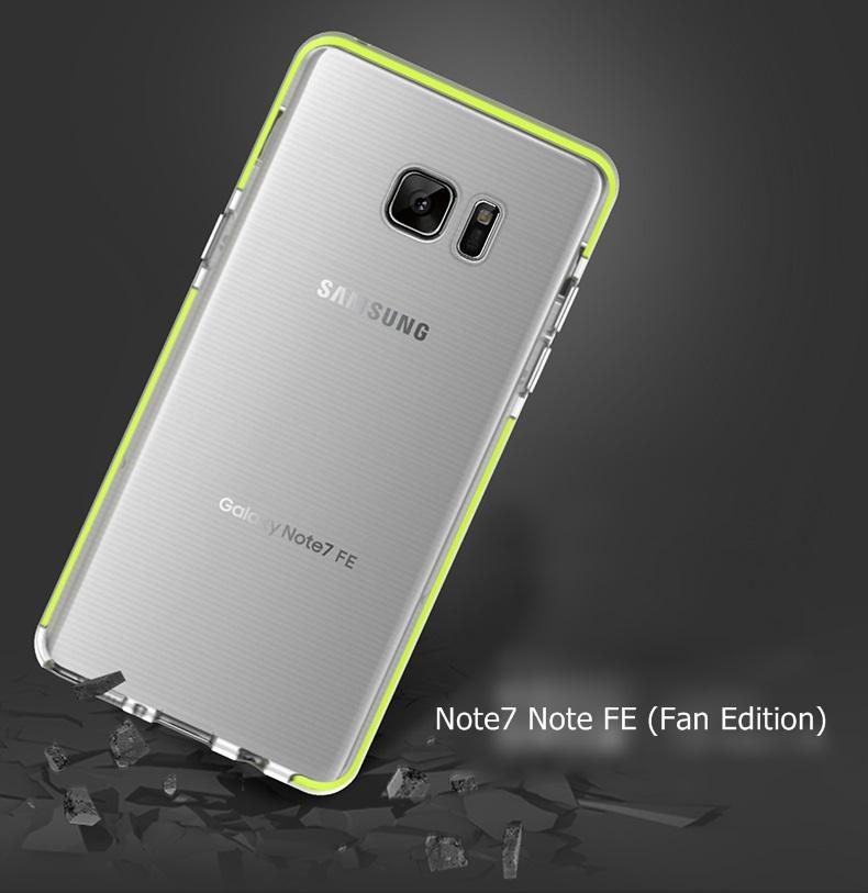 (661-004)เคสมือถือซัมซุง Case Note7 Note FE (Fan Edition) เคสนิ่มใสขอบสีสไตล์ ROCK