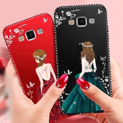 (587-012)เคสมือถือซัมซุง Case Samsung A7 เคสนิ่มแฟชั่นลายผู้หญิงขอบเพชร