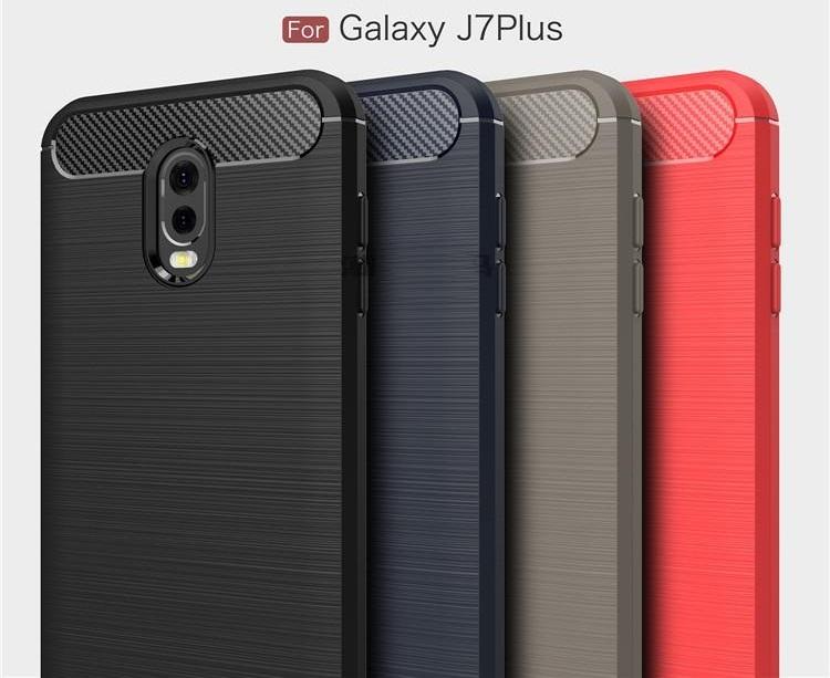 (436-265)เคสมือถือซัมซุง Case Samsung J7+/Plus/C8 เคสนิ่มแฟชั่นสวยๆ ลายคาร์บอน