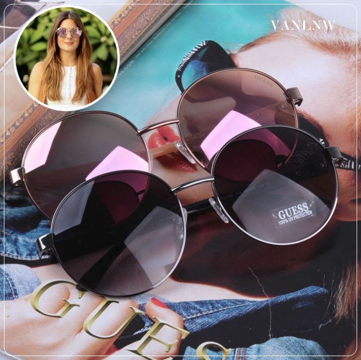 แว่นกันแดด Guess Metal Round Sunglasses GU7388 58-18 135 *3 <แท้ 100%>