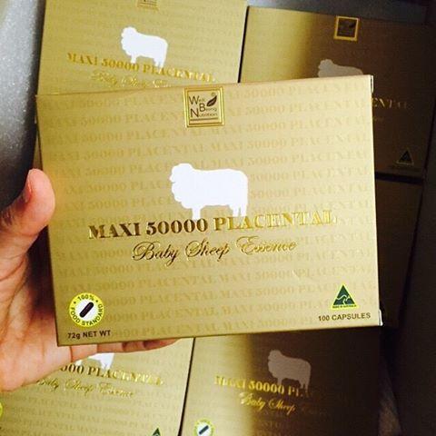 Maxi 50000 Placenta รกแกะ แม็กซี่ บรรจุ 100 แคปซูล