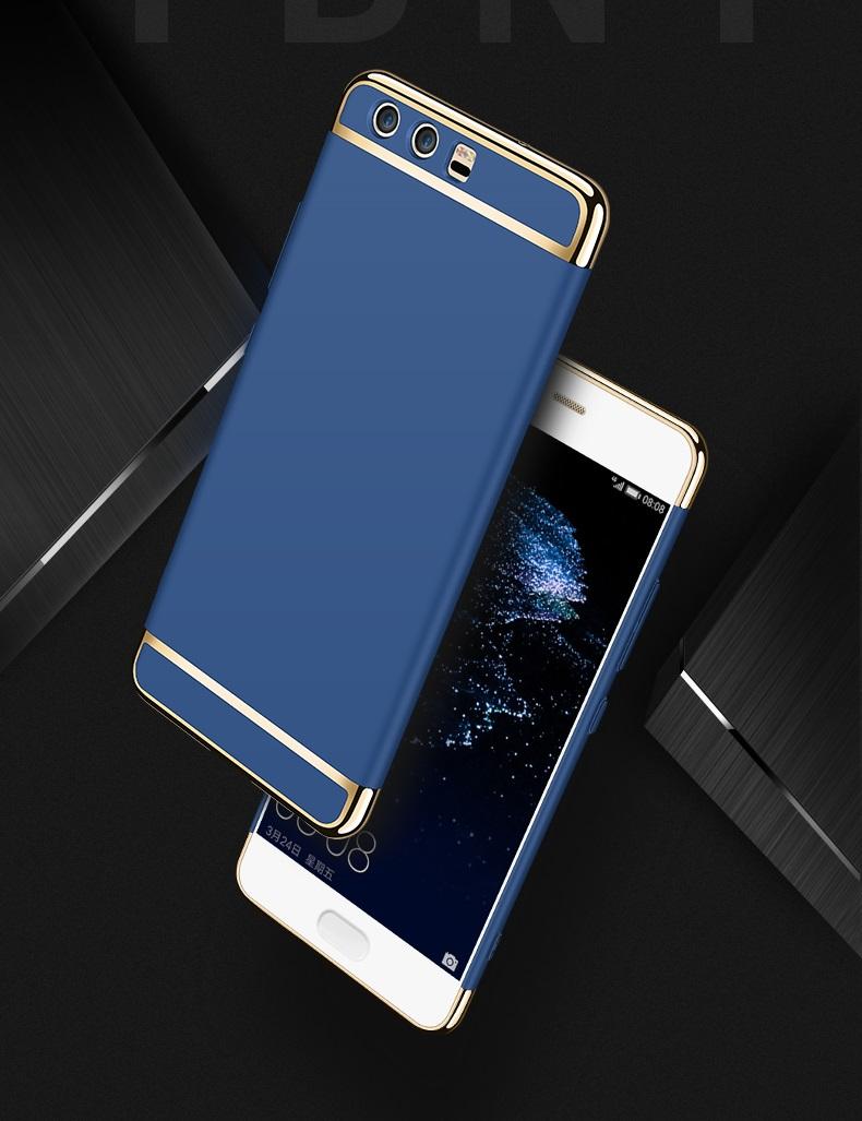 (025-1130)เคสมือถือ Huawei P10 Plus เคสพลาสติกสีสดใสขอบทองแววสไตล์แฟชั่น