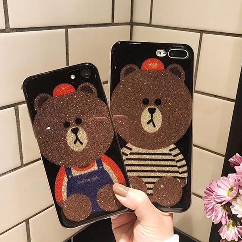 (025-987)เคสมือถือไอโฟน Case iPhone7/iPhone8 เคสนิ่มหมีไลน์ Glitter