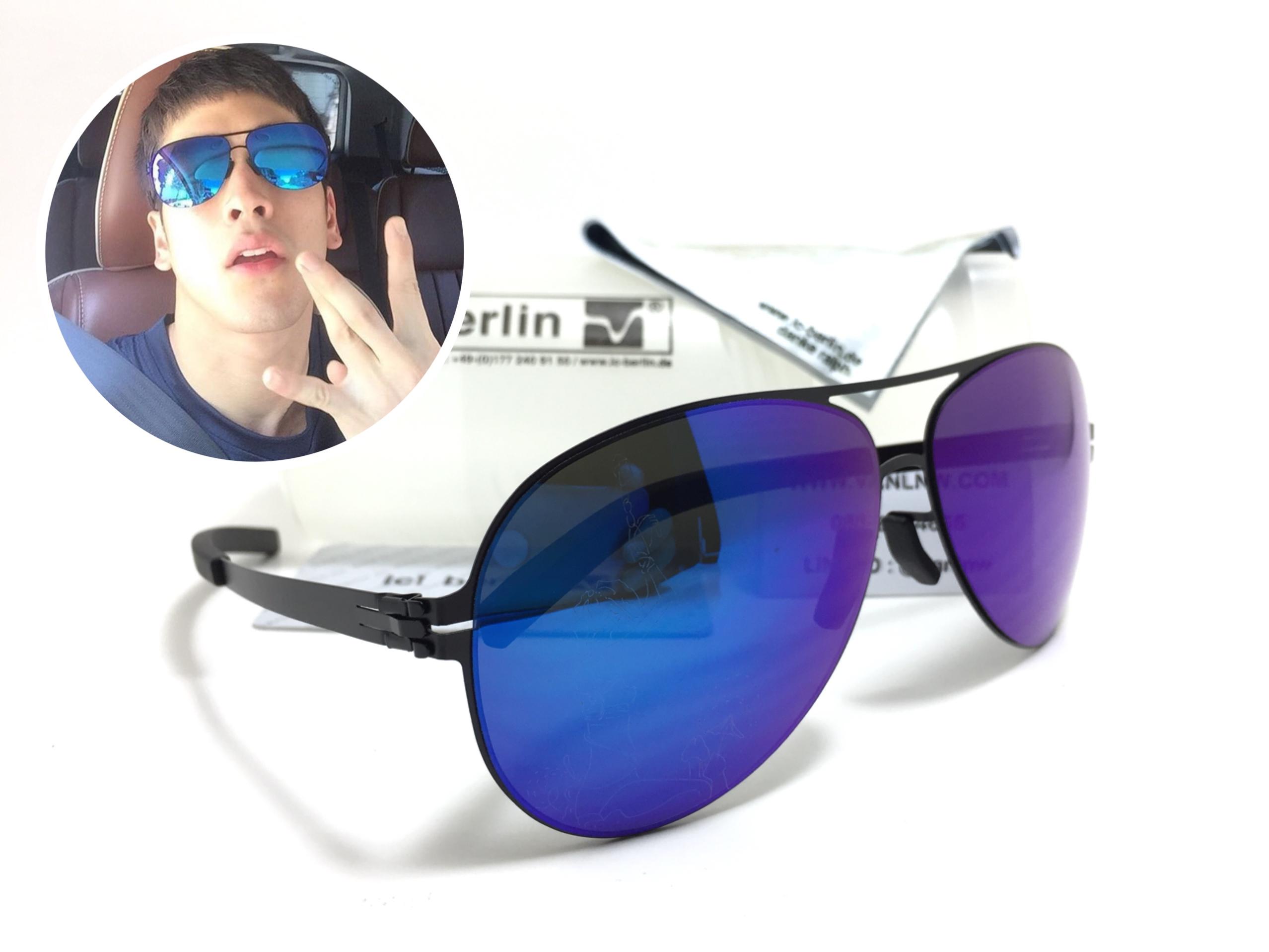 แว่นกันแดด ic berlin model christian s. raf black 62-13 <ปรอทน้ำเงิน>