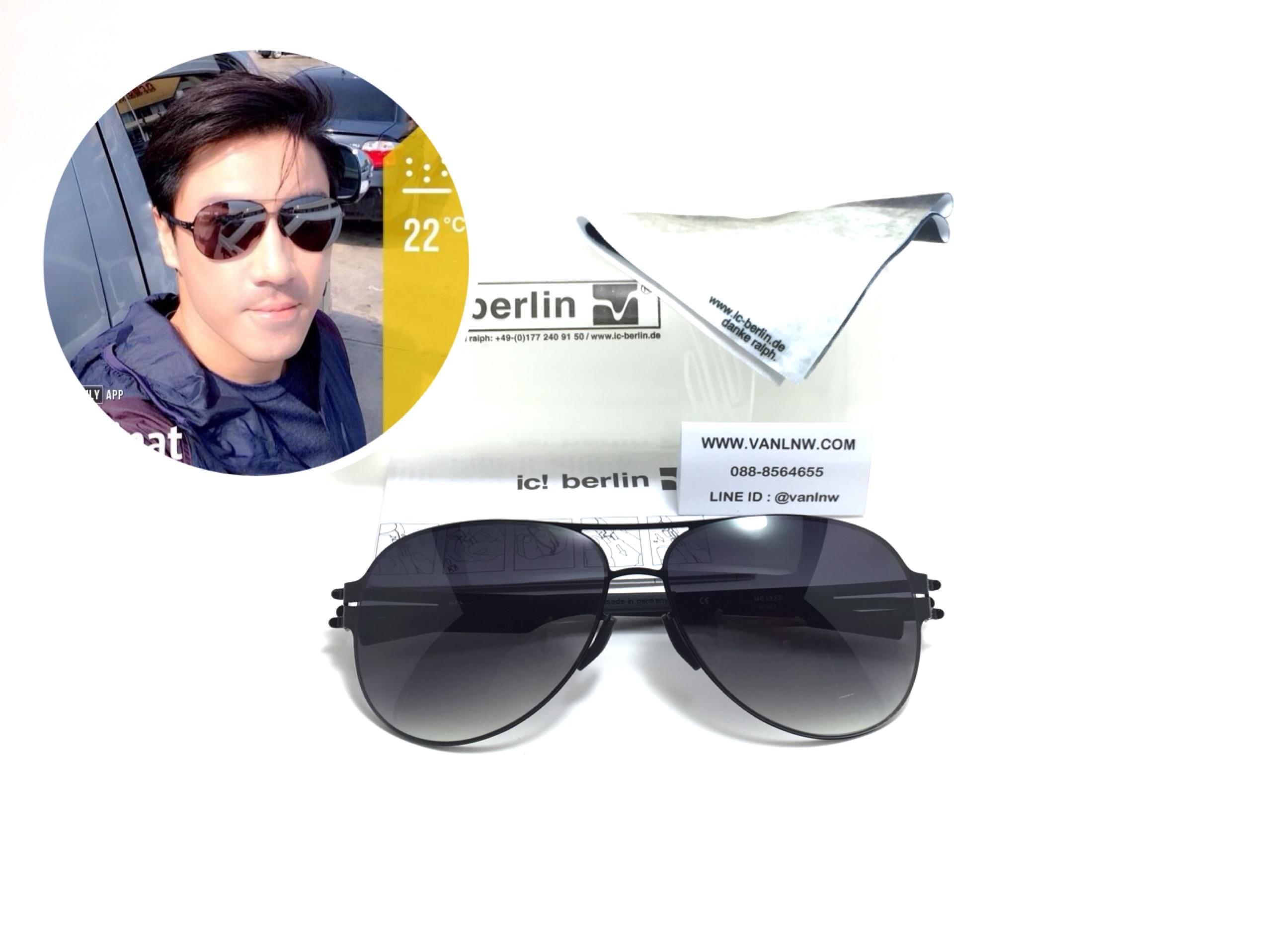 แว่นกันแดด ic berlin model M0132S black 61-14 <ดำเงา>