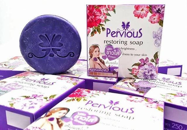 Pervious restoring soap เพอร์เวียส สบู่กู้หนังหน้า ขนาด 100กรัม