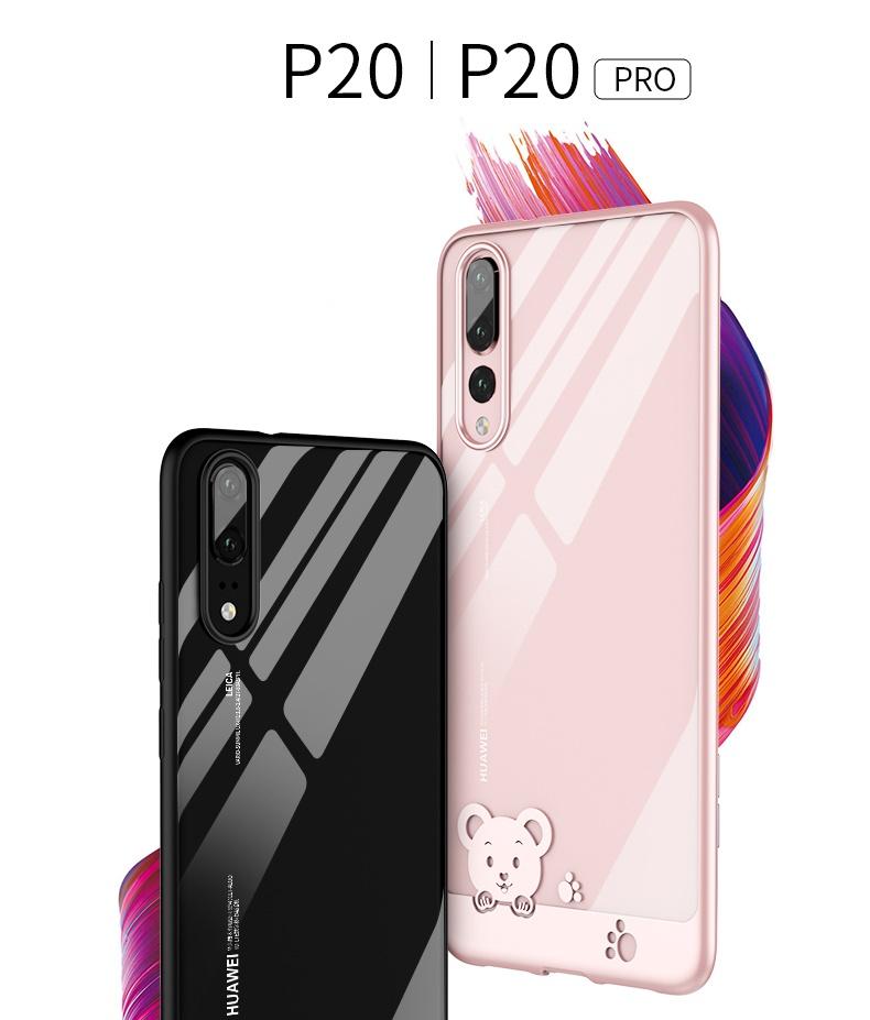 (734-001)เคสโทรศัพท์มือถือหัวเว่ย Case Huawei P20 Pro เคสนิ่มใสลายขอบหมีน่ารักๆ