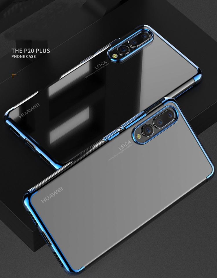 (724-003)เคสโทรศัพท์มือถือ Case Huawei P20 Pro เคสนิ่มแฟชั่นขอบสีเมทัลลิค