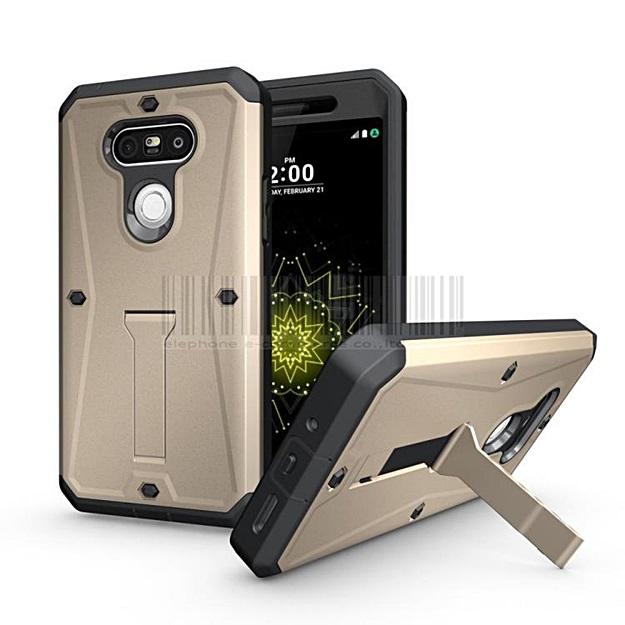 (002-170)เคสมือถือ LG G5/G5 SE เคสนิ่ม+พื้นหลังประกบแบบพลาสติก+มีขาตั้ง