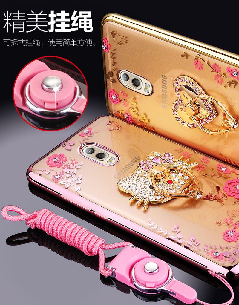 (025-844)เคสมือถือซัมซุง Case Samsung J7+/Plus/C8 เคสนิ่มซิลิโคนใสลายดอกไม้หรูติดคริสตัล พร้อมแหวนเพชรวางโทรศัพท์และสายคล้องคอแบบถอดแยกได้