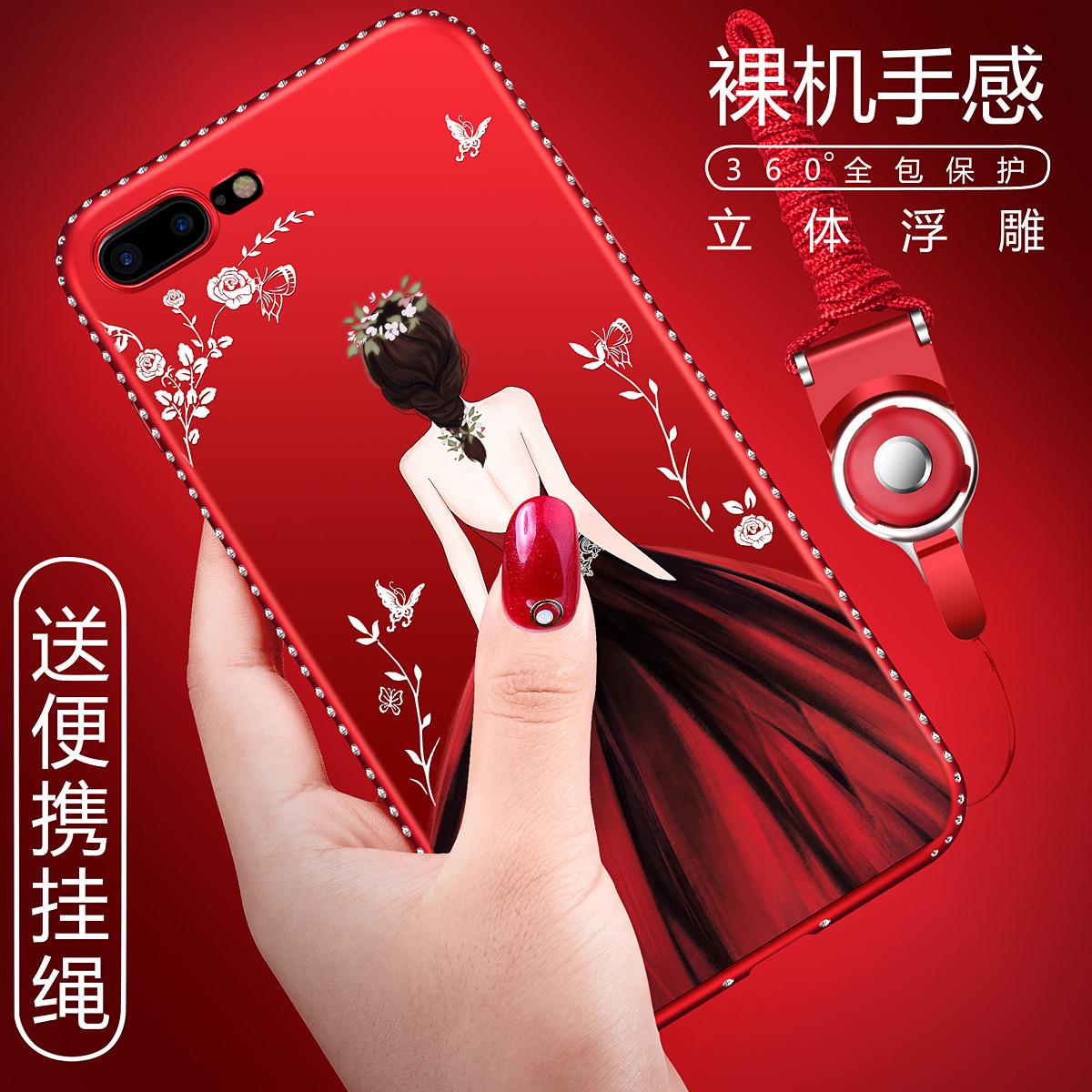 (025-756)เคสมือถือไอโฟน Case iPhone7 Plus/iPhone8 Plus เคสนิ่มซิลิโคนลายการ์ตูนผู้หญิง ขอบเพชรพร้อมสายคล้องคอถอดแยกได้