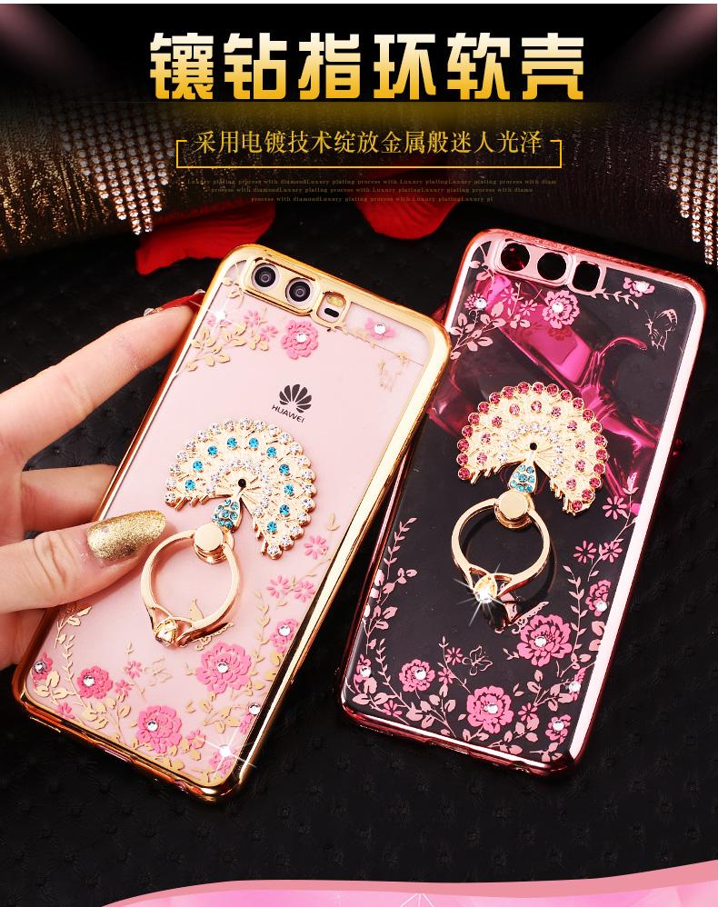 (025-250)เคสมือถือ Huawei P10 Plus เคสนิ่มขอบชุบแววหลังใสลายดอกไม้ประดับคริสตัลแหวนโลหะสวยๆ