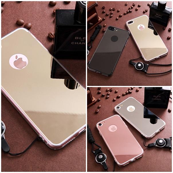 (025-983)เคสมือถือไอโฟน Case iPhone7/iPhone8 เคสนิ่มพื้นหลังแววกึ่งกระจกเรียบหรู พร้อมสายคล้องคอถอดแยกสายได้