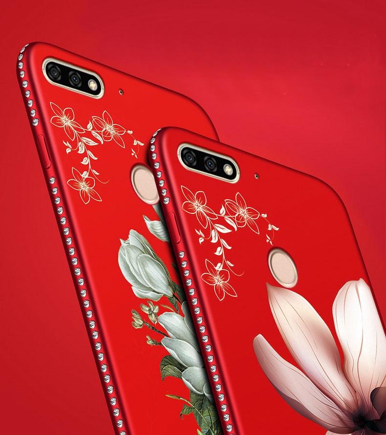 (026-018)เคสโทรศัพท์มือถือหัวเว่ย Case Huawei Y7Pro 2018 เคสนิ่มขอบเพชรลายดอกไม้