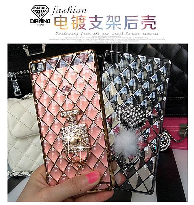 (442-017)เคสมือถือ Case Huawei P8 Lite เคสนิ่มใสขอบชุบแววลายโมเสคแก้ว