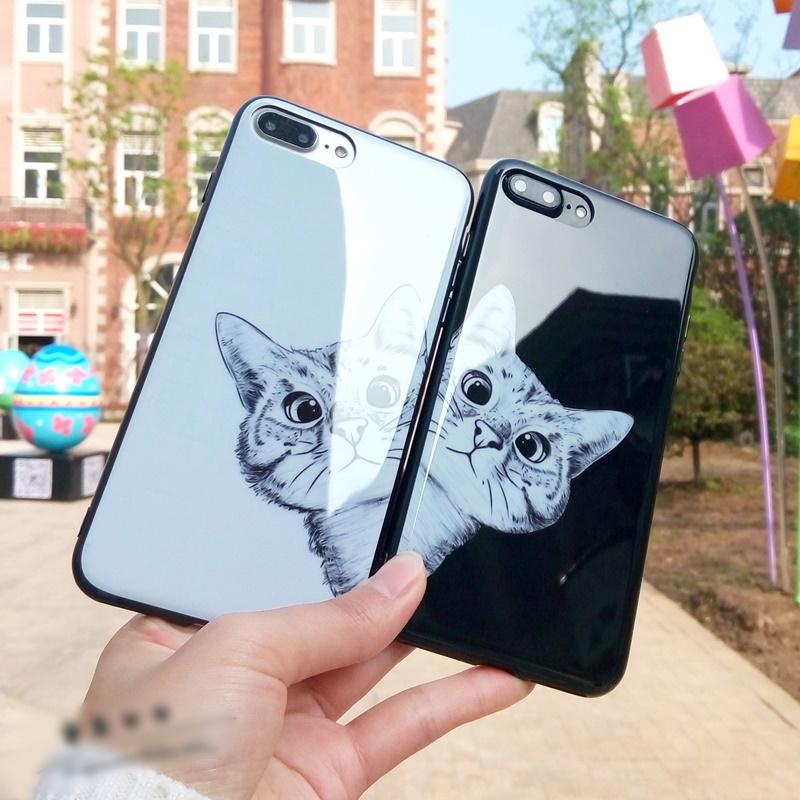 (633-021)เคสมือถือไอโฟน Case iPhone7/iPhone8 เคสนิ่มพื้นหลังกระจกลายน้องแมวน่ารักตามหาเจ้าของ