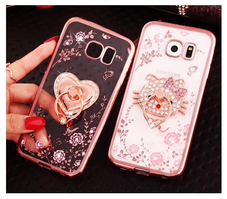 (025-1150)เคสมือถือซัมซุง Case Samsung S7 Edge เคสนิ่มซิลิโคนใสลายหรูประดับคริสตัล พร้อมแหวนเพชรมือถือตั้งโทรศัพท์