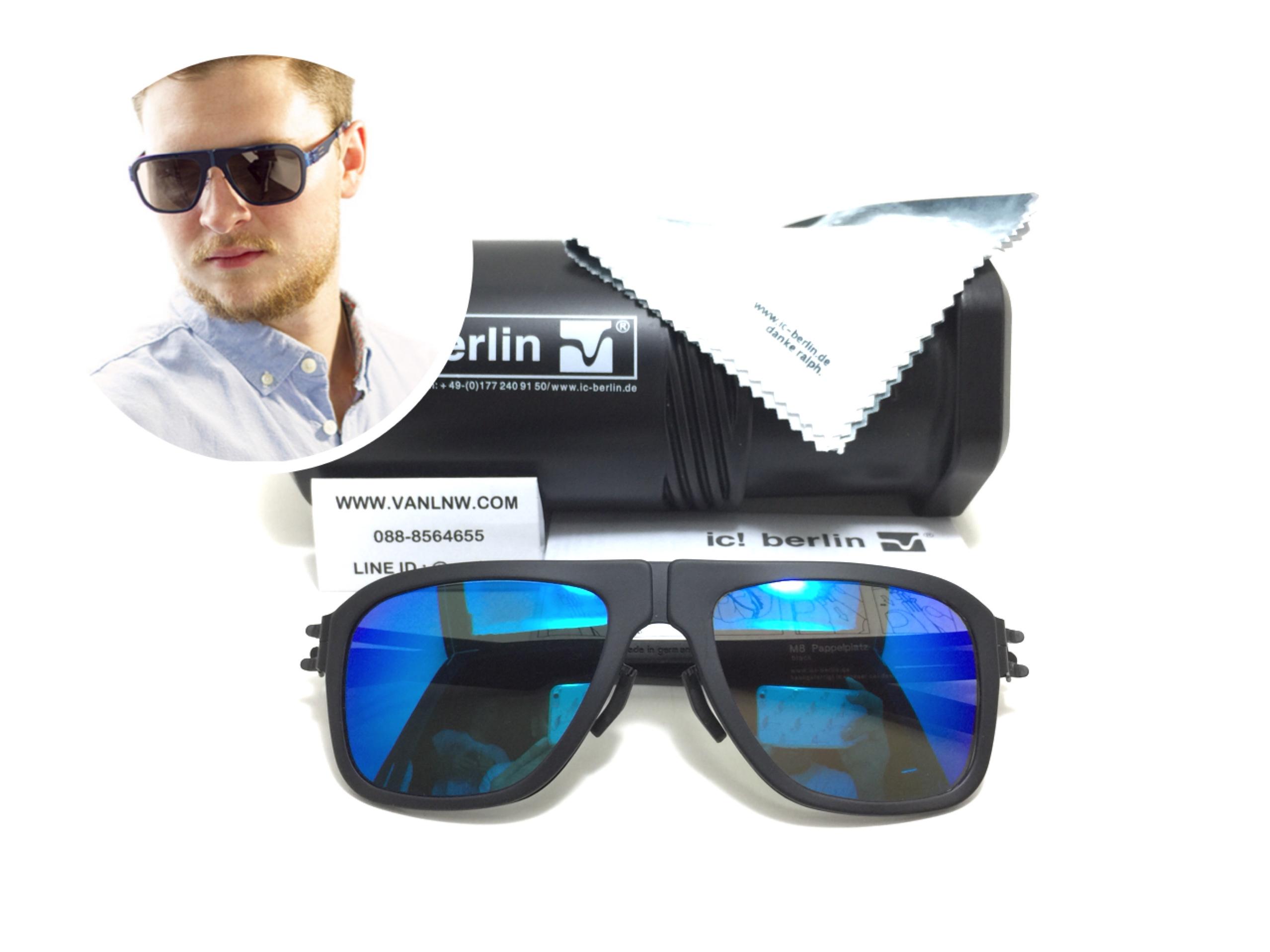 แว่นกันแดด ic berlin model M8 Pappelplatz black 55-17 <ปรอทน้ำเงิน>