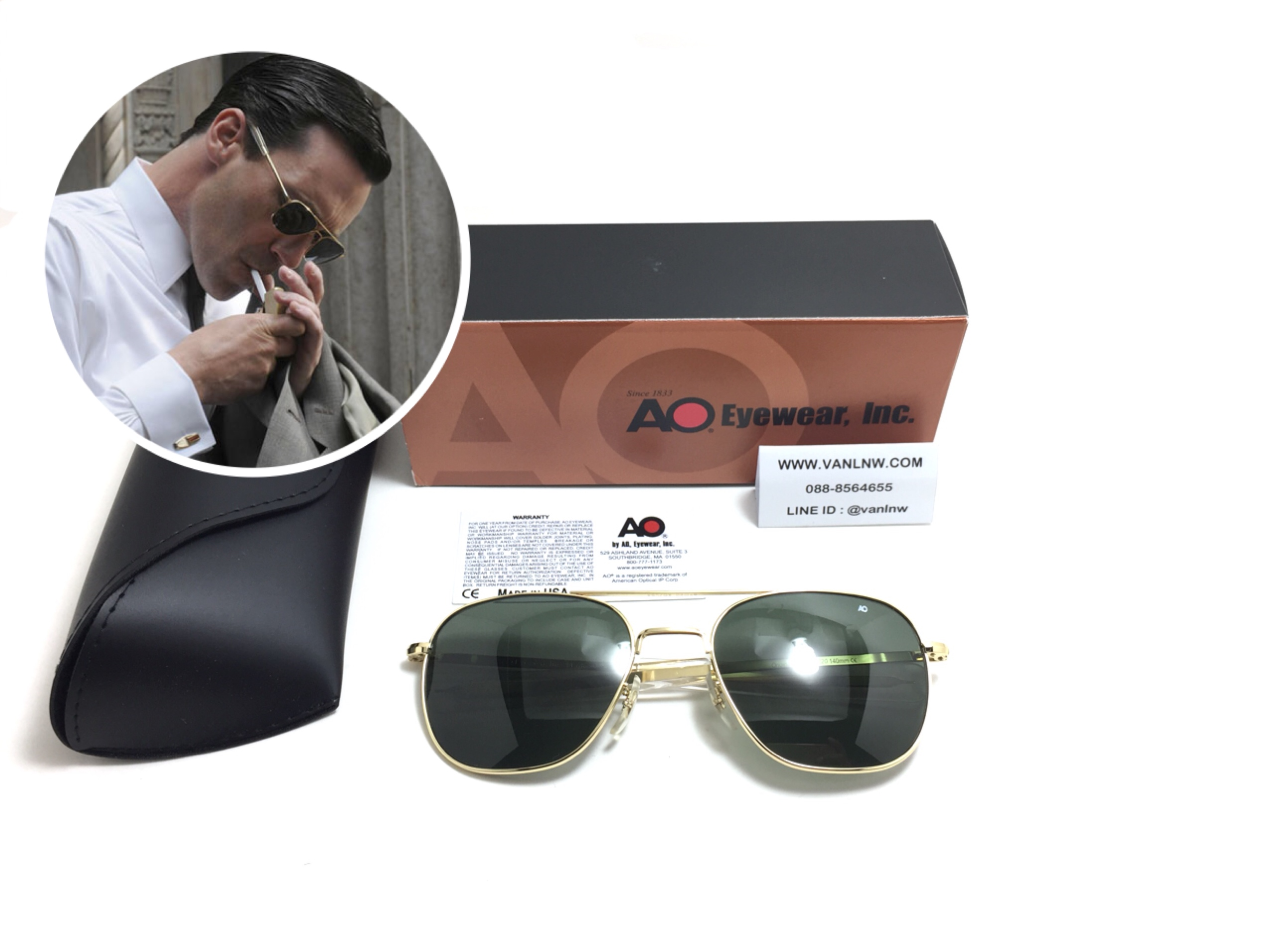 แว่นกันแดด Ao Original Pilot Made in USA (ทอง) ของแท้ 100%