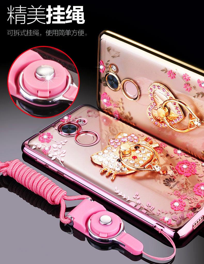 (025-543)เคสมือถือ Case Huawei Y7prime เคสนิ่มซิลิโคนใสลายหรูติดคริสตัล พร้อมแหวนเพชรวางโทรศัพท์ และสายคล้องคอกดแยกออกได้