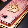 (025-353)เคสมือถือซัมซุง Case Samsung C9 Pro เคสนิ่มขอบชุบแววหลังใสลายดอกไม้ประดับคริสตัลแหวนโลหะสวยๆ