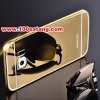 (025-136)เคสมือถือซัมซุง Case Samsung S6 เคสกรอบโลหะพื้นหลังอะคริลิคเคลือบเงาทองคำ 24K