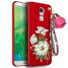 (694-004)เคสมือถือ Case OPPO R7 Plus เคสนิ่มคลุมเครื่องสีแดงลายดอกไม้แฟชั่นสวยๆ พร้อมสายคล้องมือลายดอกไม้